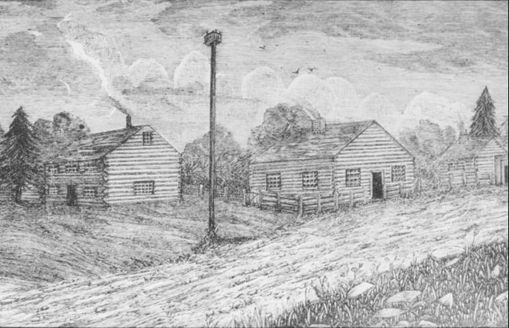 Credit Mission Village, painting by Eliza Jones, c1930