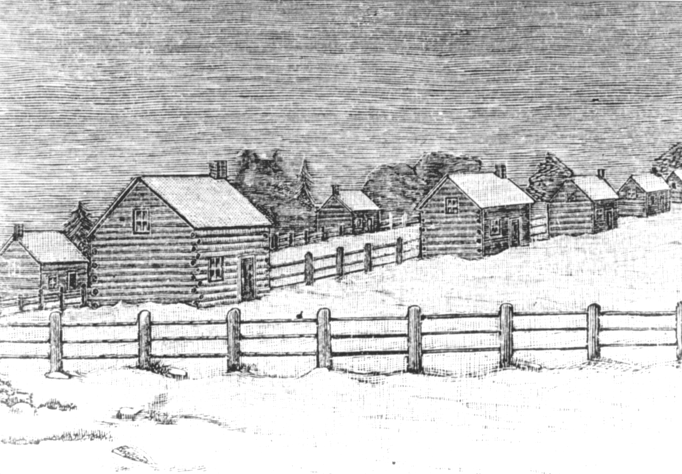 Sketch of the Mississauga Mission Village on the Credit River 1827 by Egerton Ryerson
